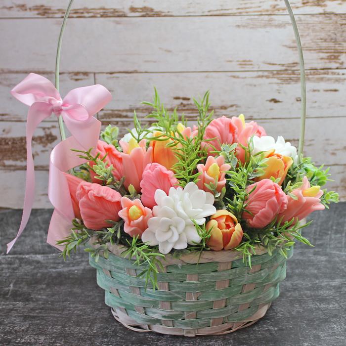 Корзинка тюльпанов. Заказать / купить мыло ручной работы в Тюмени  Цена от 1 350 ₽